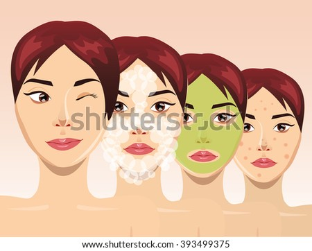 Beautiful woman face in process of acne treatment, vector illustration