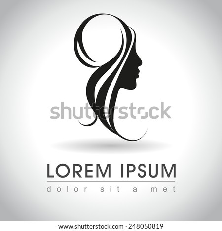 Beautiful woman face logo sample, vector illustration - stock vector