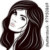 beautiful woman face. Vector illustration. - stock vector