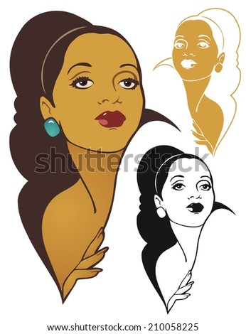 Beautiful woman, fashion pose - stock vector
