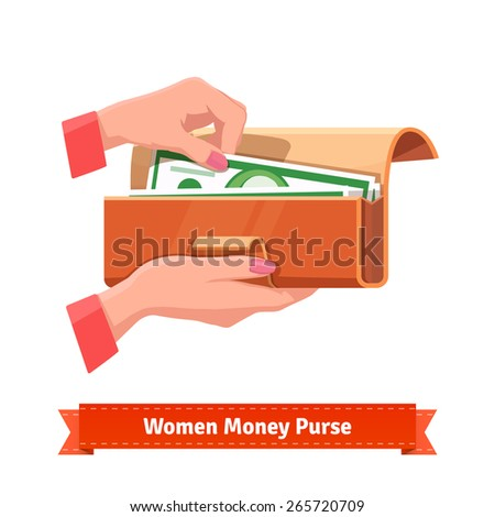 Beautiful woman hands with pink manicure taking out hundred dollar banknote from a purse. Flat style vector illustration. - stock vector