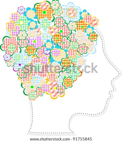 Beautiful woman head silhouette with flowers. vector