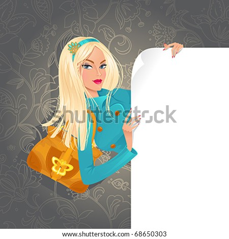 Beautiful woman holding white banner - stock vector