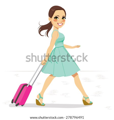 Beautiful woman in mint green dress walking on street pulling small pink roller suitcase - stock vector