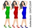 Beautiful woman in red blue and green dress showing something-vector - stock vector
