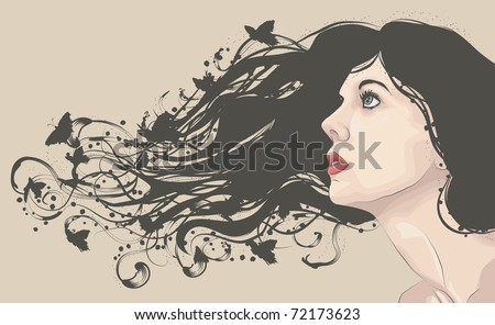Beautiful woman looking up with flowing abstract hair with butterflies - stock vector