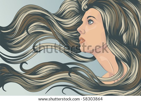 Beautiful woman looking up with long hair flowing in the wind - stock vector