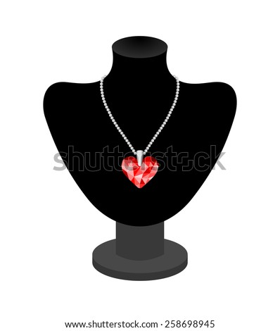 Beautiful woman necklace on black mannequin. 3d diamond heart shape in many shades of red color, realistic design of shiny luxury heart gem. vector art image illustration, isolated on white background - stock vector