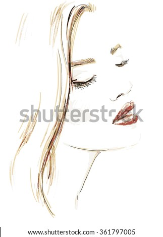 Beautiful woman portrait. abstract vector fashion illustration - stock vector