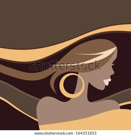 Beautiful Woman. Portrait. Vector illustration. - stock vector