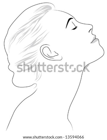 beautiful woman profile - stock vector