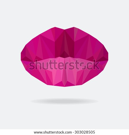 Beautiful woman purple triangle Lips made from polygons. Purple origami lips. Vector abstract bright geometric illustration. Romantic background.  - stock vector