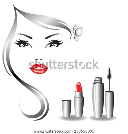 Beautiful woman's face and makeup symbols. - stock vector