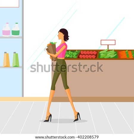 Beautiful woman shopping vegetables. Vector illustration - stock vector