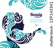 Beautiful woman silhouette. Tattoo of abstract girl hair. Marine design	 - stock vector