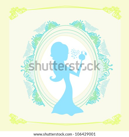 beautiful woman spraying perfume - silhouette poster - stock vector