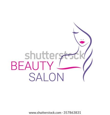 Beautiful woman vector logo template for hair or beauty salon, cosmetic procedures, spa center. - stock vector