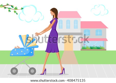 Beautiful woman walking with baby in pram. Vector illustration - stock vector