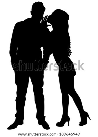Beautiful woman whispering to boyfriend's ear, vector - stock vector