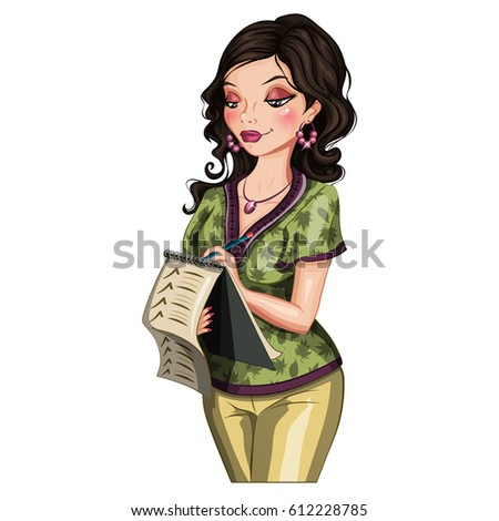 Beautiful woman with a list. Vector character. Isolated woman.