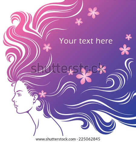beautiful woman with a long hair,vector - stock vector
