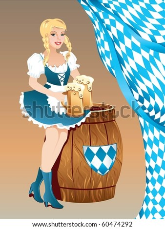Beautiful woman with beer on Oktoberfest - stock vector