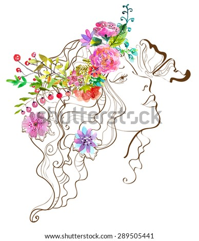 Beautiful woman with butterfly and flowers,doodle illustration with watercolor flowers over white, Vector - stock vector