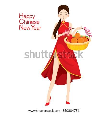 Holding basket traditional celebration china happy chinese new year