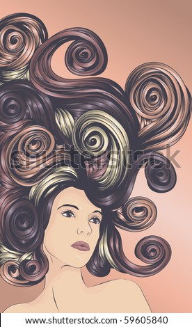 Beautiful woman with detailed hair - stock vector