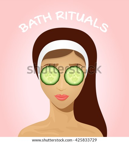 Beautiful woman with facial mask of cucumber slices on face. Beauty treatment. Bath rituals. Flat style