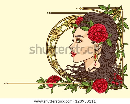 Beautiful woman with flowers in hair, Art Nouveau stylized female face, Vintage floral border. - stock vector