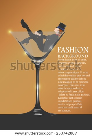 beautiful woman with glass red wine sits in a glass for martini - stock vector
