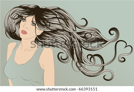 Beautiful woman with long curly hair with one strand in the shape of a heart - stock vector