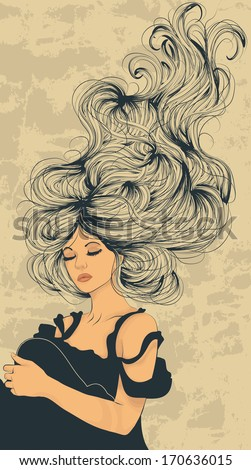 Beautiful woman with long flowing hair artistic illustration - stock vector