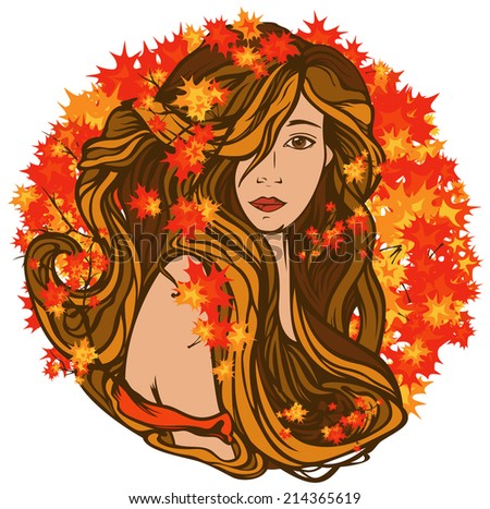 beautiful woman with long hair among bright autumn foliage - art nouveau style vector portrait