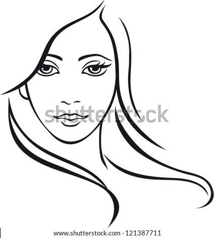 Beautiful woman with long hair. Vector.