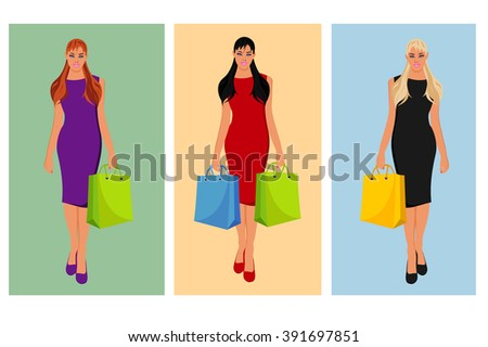 Beautiful woman with shopping bag, vector illustration - stock vector