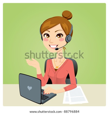 Beautiful woman working in a call center with laptop on desk and headset - stock vector