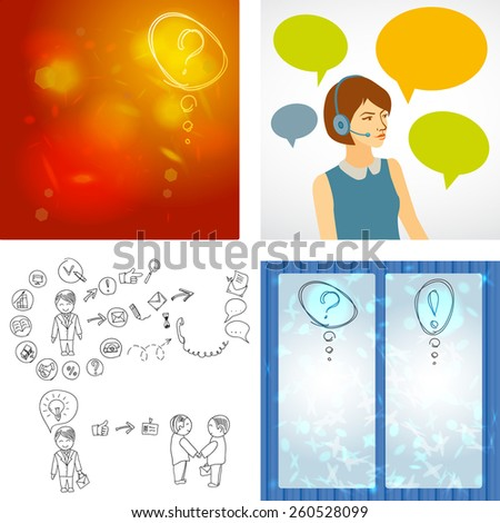 Beautiful woman working in a call center with speech bubbles. Hand doodle Business icon set idea design, job search, resume. Question mark icon sketch. Vector - stock vector
