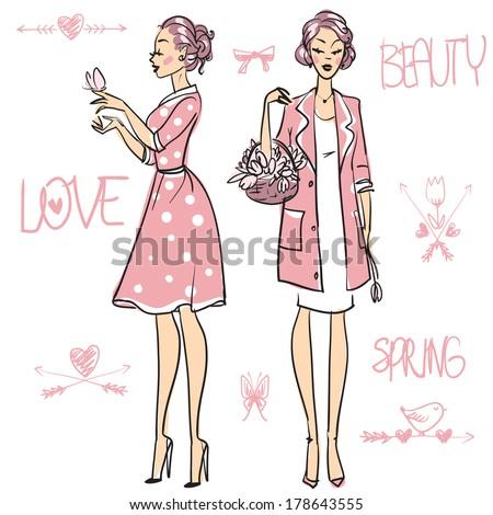 Beautiful women  - stock vector