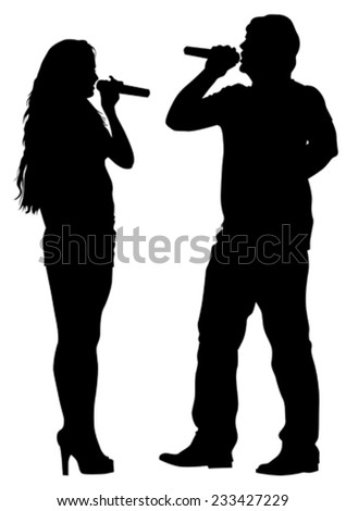 Beautiful women and man whit microphon on white background - stock vector