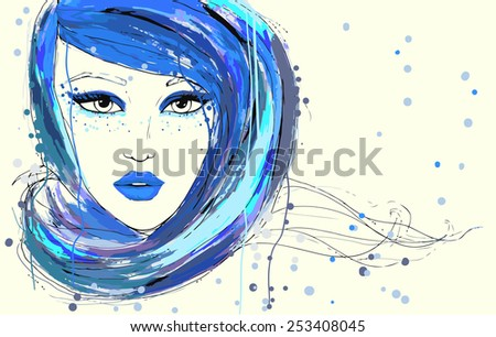 Beautiful women portrait, painted fashion vector illustration. Bright Make up - stock vector