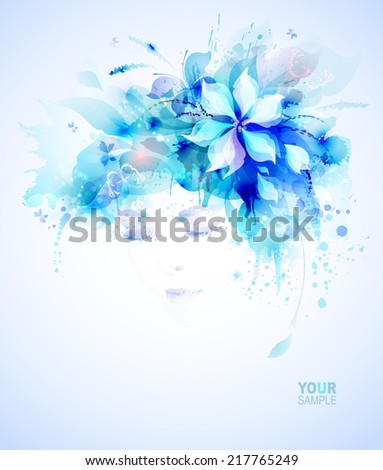 Beautiful women with abstract elements and butterflies  - stock vector