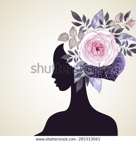 Beautiful women with abstract flower hair - stock vector
