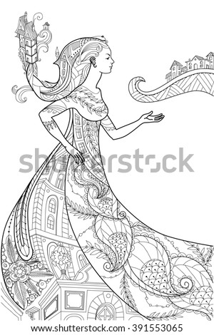 Beautiful Women With Abstract Hair Design Elements Could Be Used For Coloring Book Vector Illustration