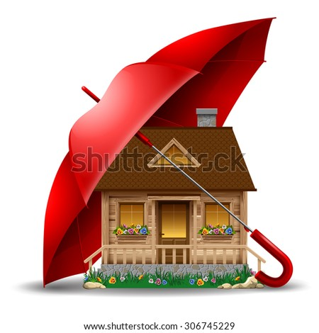 Beautiful wooden house under protect of the red umbrella. Concept safety of life and real estate. Vector illustration. Isolated on white background. - stock vector