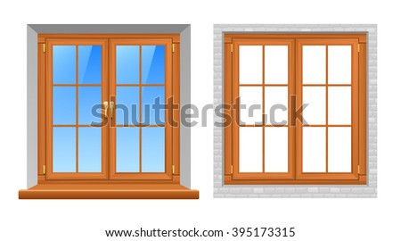 Beautiful wooden texture classic style window frames indoor and outside views 2 realistic icons set vector isolated illustration