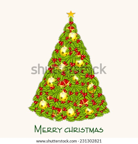 Beautiful X-mas tree decorated by mistletoe and X-mas Ball for Merry Christmas celebrations on beige background. - stock vector