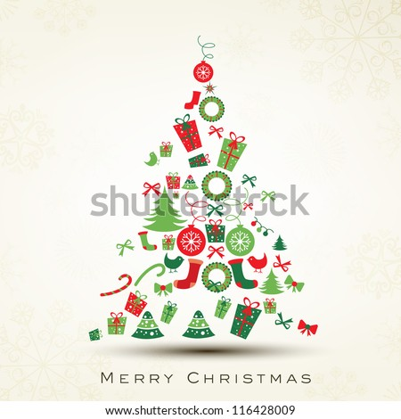 Beautiful Xmas tree for Merry Christmas celebration. EPS 10. - stock vector
