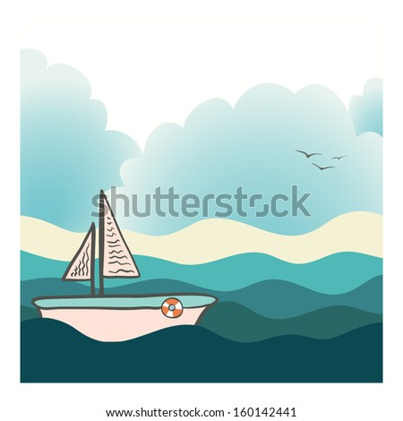 Beautiful yacht sailing in the deep ocean with beach and clouds on the background. Perfect cruise design. Cute fully editable luxury vacation illustration drawn in vector by hand. - stock vector